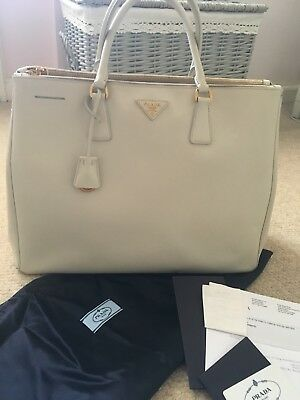 61ee2b2c5e8b Authentic PRADA Saffiano Cream White Large Double Zip Galleria Lux Tote  Handbag