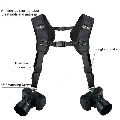 Focus Quick Rapid Double Dual Shoulder Strap Sling Belt For 2 DSLR Camera Black
