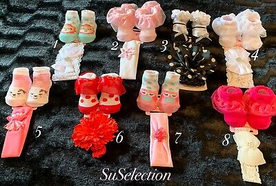 Baby Lace Frill Socks & Headband-0/6 Months -Beautiful Colours & Designs-New