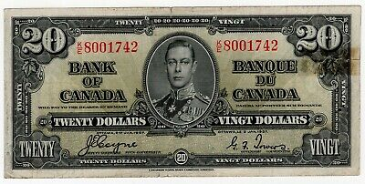 1937 Bank Of Canada Twenty 20 Dollar Banknote Ke 8001742 Nice Bill