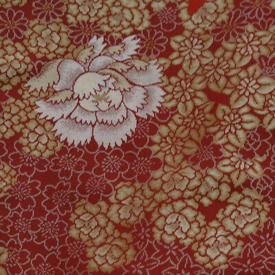 "Japanese vintage kimono silk fabric ""Woven Rose, Carnation and Blossom"""