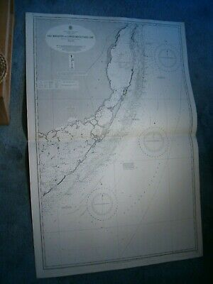 Antique Admiralty Chart 1097 USA - CAY BISCAYNE to LOWER MATACUMBE CAY 1866 edn