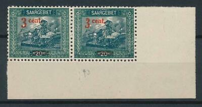 [53067] Saar 1921 good overprint Variety on pair of MNH Very Fine stamps