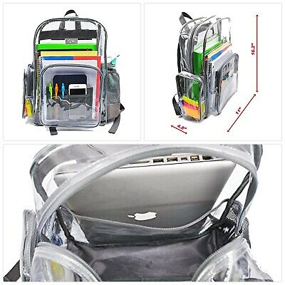 Heavy Duty Clear Backpack with Laptop Sleeve and Security Pocket,Sturdy Stitches