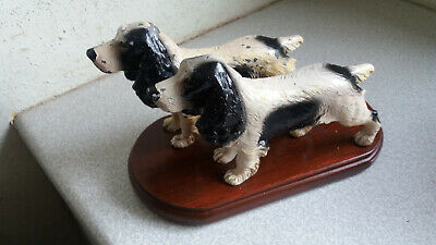 Pair Vintage Spelter Metal Springer Spaniel Dog Figures  On Plinth