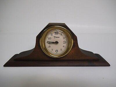 Vintage Devon West German Wind Up Alarm Clock, Small Desktop Wood Case, Working
