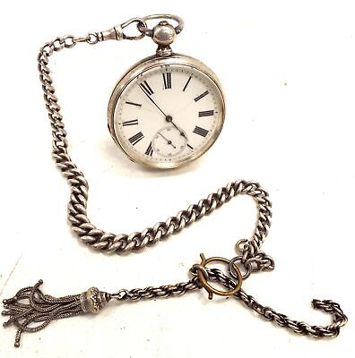 Vintage PATENT LEVER Fine SILVER Mechanical Pocket Watch/ Chain And Fob - F14