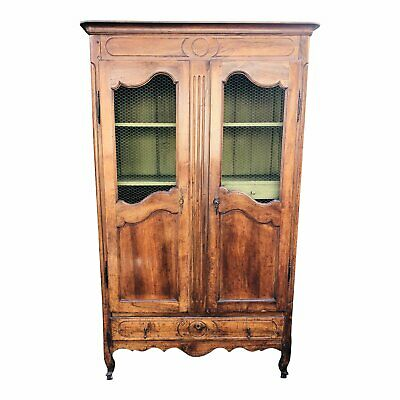 Antique 18c French Country Fruitwood Mesh Front Bookcase