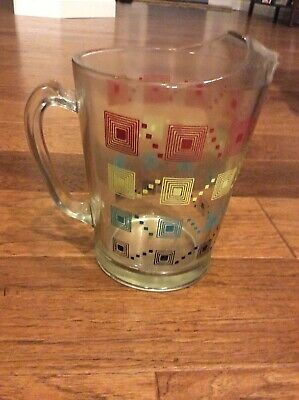 Vintage Retro Art Deco Water Tea  Lemonade Pitcher w Ice Lip
