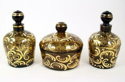 Vintage Powder Jar Perfume Bottles 3 Pce Vanity Set Gold Decorated Czech Glass