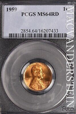 1959 Lincoln Memorial Cent - Pcgs Ms64Rd - Brilliant Uncirculated!!  #Sle410