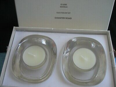 COUNTRY ROAD CR HOME 2 glass TEA LIGHT Candle SET  Box