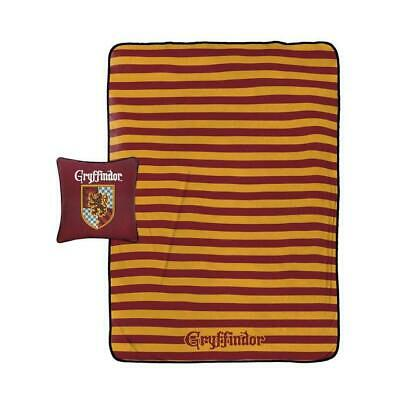 Harry Potter 2 Piece Blanket & Pillow Set Gryffindor House Color Throw Bed Movie