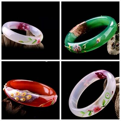 New Chinese Natural Color Jade Bangle  Carved peacock Agate Bracelets Jewelry