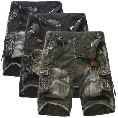Mens Cargo Shorts Crosshatch Military Combat Camo Long Army Knee Length Pants
