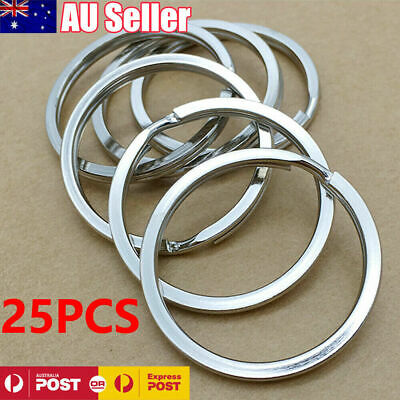 20PCS 304 Stainless Steel Key Holder Split Rings Keyring Keychain Keyfob 32mm AU