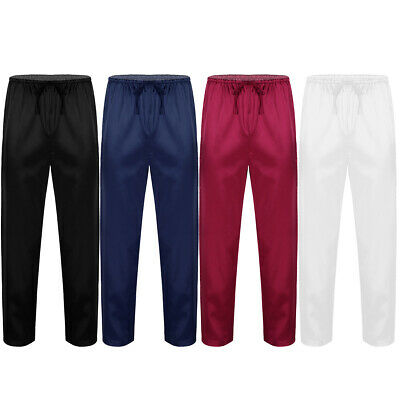 Mens Silk Satin Pajamas Pyjamas Pants Sleep Bottoms Drawstring Soft Lounge Pants