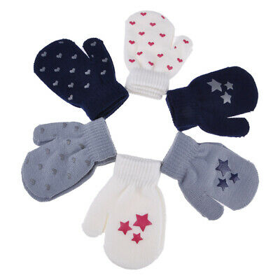 Children Winter Warm Knitted Star Heart Mittens Thickened Wrist Gloves Xmas Gift