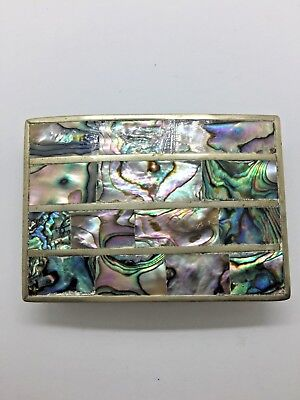 Alpaca Silver Belt Buckle Abalone Mexico Trendy Vintage Western