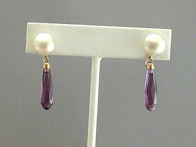 ESTATE Cultured Pearl & Faceted Purple Glass Crystal Dangle Earrings 10K Gold