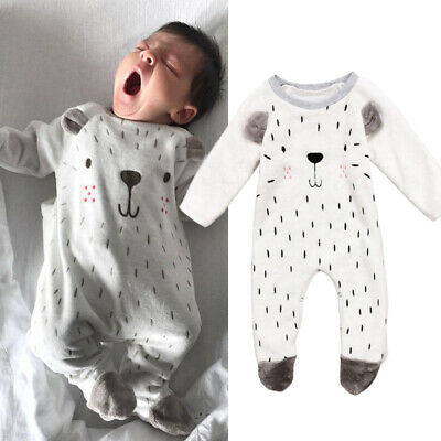 Fluffy Newborn Kids Baby Girl Boy Warm Bodysuit Romper Jumpsuit Clothes Outfits