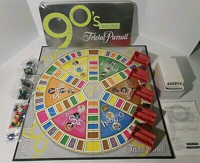Trivial Pursuit 90's Time Capsule Edition Board Game Metal Tin Trivia - Open Box