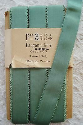 1y ANTIQUE VTG FRENCH AQUA GREEN RAYON GROSGRAIN PICOT RIBBON FLOWER HAT TRIM