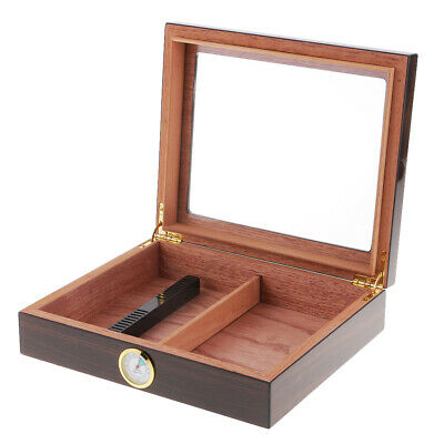 20 Cigars Humidor Wooden Lined Storage Box With Humidifier Hygrometer Case