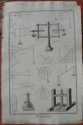 "1765 Original Diderot Engravings -""Mechanique"" - Mechanics - Complete Set of 5"