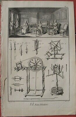 1765 Five Diderot Engraving - COTTON & WOOL SPINNING - Workshops & Wheel Designs