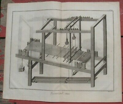 1765 Folio Diderot Engraving - WEAVING LOOM - Double-page perspective view