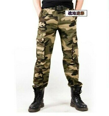 Mens Multi-pocket Camouflage Casual Outdoor Bib overall Army Trousers Pants New