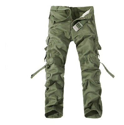 Mens Solid Trousers Pants Army Bib overall Dungarees Zipper Multi-pocket Outdoor