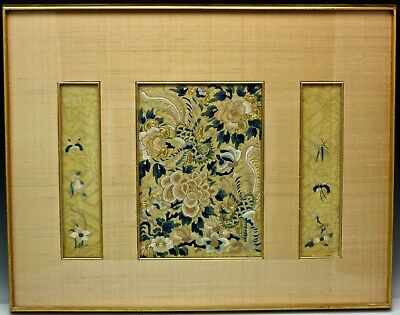 Chinese Embroidered Panel Silk & Gold Thread Peking Knot Stitch 19th Century