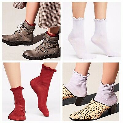 NWT Free People Pixie Ankle Socks 9-11 One Size Red or Black