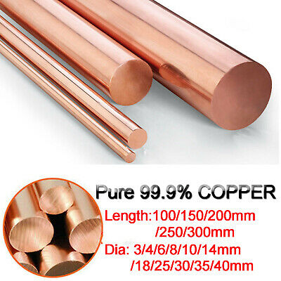 99.9% Pure Copper Round Bar Rod T2 Welding Metalworking 100 150 250 300mm long