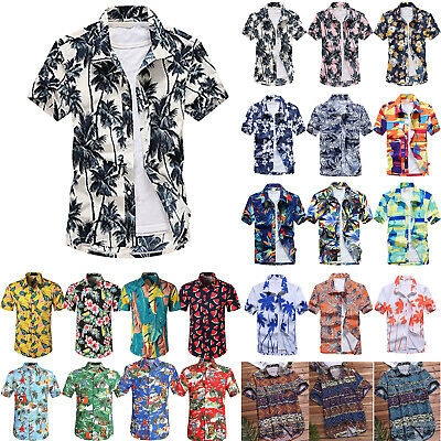 a0f4f23ac Mens Hawaiian Button Down Short Sleeve Top Loose Summer Boho Holiday Dress  Shirt