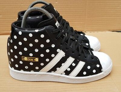 ADIDAS SUPERSTAR 80's UP WEDGE INSOLE TRAINERS BLACK SPOTTED SIZE 7 UK RARE