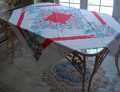 Lovely Vintage Tablecloth 40's or 50's grapes bright colors