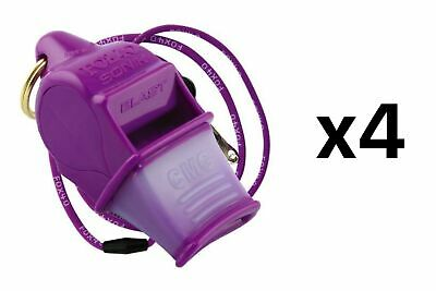 Fox 40 Sonik Blast CMG 2-Chamber Pealess Whistle with Lanyard, Purple (4-Pack)