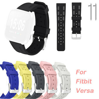 Silicone Openwork Strap Replacement Strap For Fitbit Versa Lite +  Raw Ear Pins