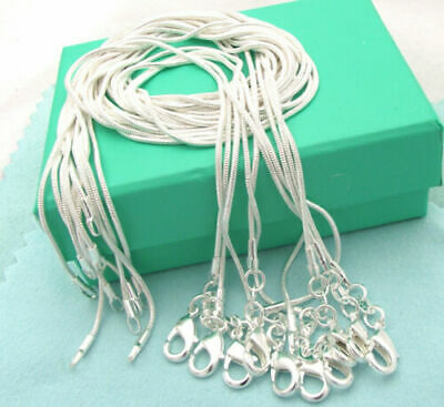 """10/20pcs 925 Silver Snake Chains Necklace 1mm Jewelry 16""""-30"""" Jewelry Wholesale"""