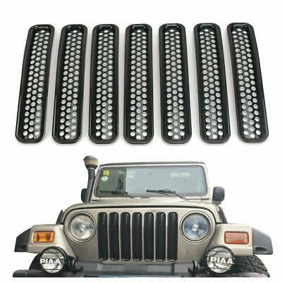 7pcs Front Grille Cover Insert Mesh Grill Shell For 1997-2006 Jeep Wrangler TJ