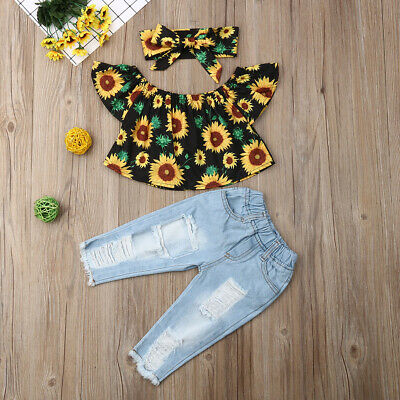 2019 Summer Toddler Baby Girl Sunflower Tops+ Denim Pants Jeans Fashion Outfits