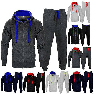 Mens Tracksuit Jogging Top Bottom Sport Suit Hoodie Coat Trousers Sweatpants Set