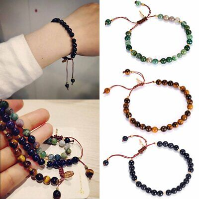 Fashion 4mm Natural Stone Beaded Bracelet Lucky Charm Knot Rope Bangle Jewelry