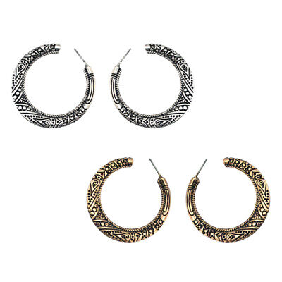 Tribal Gypsy Antique Huggie Half Circle Pierced Hollow Hoop Earrings Women HO3