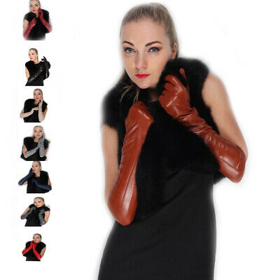 women winter warm elbow lines real sheep leather evening long gloves 9 colors