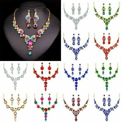Fashion Wedding Bridal Jewelry Crystal Rhinestone Women Necklace Earrings Set
