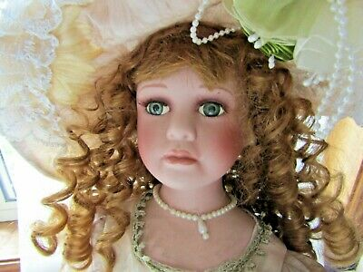 """PORCELAIN  DOLL SKU5164 EVELYN RED HAIR GREEN  EYES 22""""  dressed & STAND"""